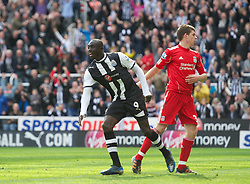 NEWCASTLE-UPON-TYNE, ENGLAND - Sunday, April 1, 2012: Newcastle United's Papiss Cisse celebrates scoring the second goal against Liverpool during the Premiership match at St James' Park. (Pic by David Rawcliffe/Propaganda)