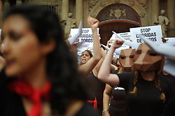 July 5, 2018 - Pamplona, Navarra, Spain - Activists from PETA and AnimaNaturalis stage a protest in Pamplona on July 5, 2018 ahead of the San Fermin festival and its infamous running of the bulls. The organizations demand that the festival be stopped due to animal cruelty. (Credit Image: © Mikel Cia Da Riva/Pacific Press via ZUMA Wire)