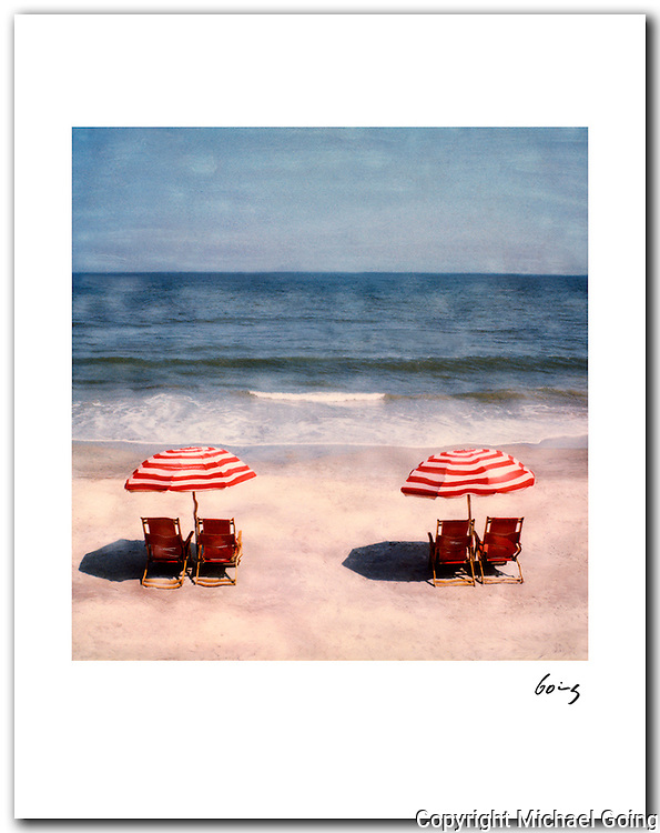 Two Beach Umbrellas 1987. 11x14 signed signed archival pigment print free shipping USA.