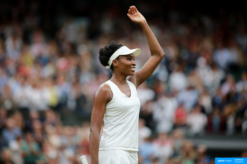 LONDON, ENGLAND - JULY 11:  Venus Williams of the United States celebrates her victory against  Jelena Ostapenko of Latvia in the Ladies' Singles Quarter Final match on Center Court during the Wimbledon Lawn Tennis Championships at the All England Lawn Tennis and Croquet Club at Wimbledon on July 11, 2017 in London, England. (Photo by Tim Clayton/Corbis via Getty Images)