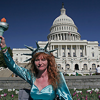 Lady Liberty, Ron Paul for President rally, Capitol building. Washington, D.C. on Tuesday April 15, 2008.