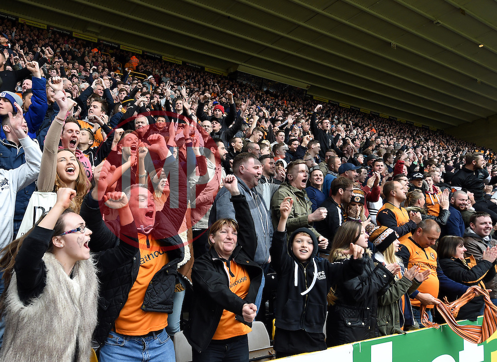 Wolves supporters celebrate Ethan Ebanks-Landell scoring against Millwall - Photo mandatory by-line: Paul Knight/JMP - Mobile: 07966 386802 - 02/05/2015 - SPORT - Football - Wolverhampton - Molineux Stadium - Wolverhampton Wanderers v Millwall - Sky Bet Championship