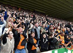 Wolves supporters celebrate Ethan Ebanks-Landell scoring against Millwall - Photo mandatory by-line: Paul Knight/JMP - Mobile: 07966 386802 - 02/05/2015 - SPORT - Football - Wolverhampton - Molineux Stadium - Wolverhampton Wanderers v Millwall - Sky Bet Championship