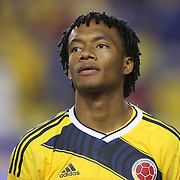 Juan Cuadrado, Columbia, during the Columbia Vs Canada friendly international football match at Red Bull Arena, Harrison, New Jersey. USA. 14th October 2014. Photo Tim Clayton