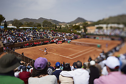 April 21, 2018 - La Manga, Murcia, Spain - (EDITORS NOTE: the image has been taken with a tilt-shift lens) Veronica Cepede Royg of Paraguay in action in his match against  Carla Suarez Navarro of Spain during day one of the Fedcup World Group II Play-offs match between Spain and Paraguay at Centro de Tenis La Manga Club on April 21, 2018 in La Manga, Spain  (Credit Image: © David Aliaga/NurPhoto via ZUMA Press)