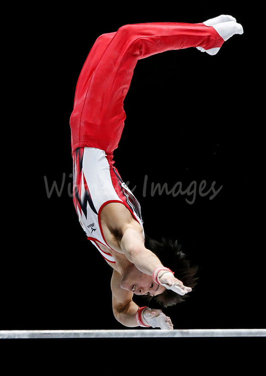 Kohel Uchimura of Japan competes on the High Bar during the Apparatus finals at the Artistic Gymnastics World Championships in Antwerp, Belgium, 06 October 2013.