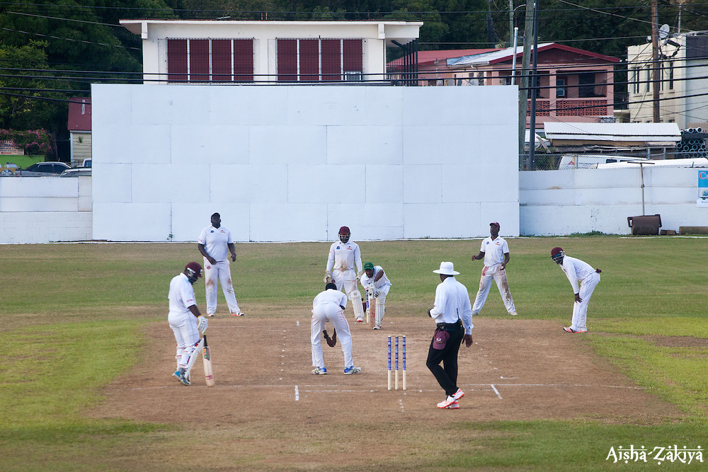 Windward Islands Volcanoes batsman Kavem Hodge plays a delivery back to bowler Jacques Taylor of Leeward Islands Hurricanes on the third day of the seventh round match in the WICB Professional Cricket League Regional 4-Day Tournament on Sunday, February 21, 2016 at the Addelita Cancryn Junior High School.© Aisha-Zakiya Boyd