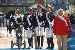 Britta Bando, Regine Mispelkamp, dr. Angelika Trabert, Steffen Zeibig, Elke Philipp, GER,<br /> Tryon - FEI World Equestrian Games™ 2018<br /> Siegerehrung Medaillenvergabe<br /> Para-Dressur Teamentscheidung<br /> 21. September 2018<br /> © www.sportfotos-lafrentz.de/Sharon Vandeput