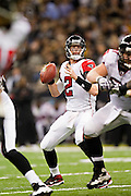 NEW ORLEANS, LA - DECEMBER 26:   Matt Ryan #2 of the Atlanta Falcons drops back to pass against the New Orleans Saints at Mercedes-Benz Superdome on December 26, 2011 in New Orleans, Louisiana.  The Saints defeated the Falcons 45-16.  (Photo by Wesley Hitt/Getty Images) *** Local Caption *** Matt Ryan