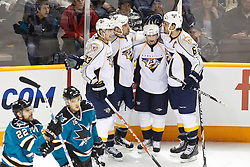 January 8, 2011; San Jose, CA, USA; Nashville Predators center David Legwand (11) (second from left) celebrates with center Colin Wilson (33) and defenseman Shea Weber (6) and right wing Marek Svatos (second from right) after scoring a goal against the San Jose Sharks during the first period at HP Pavilion. Mandatory Credit: Jason O. Watson / US PRESSWIRE