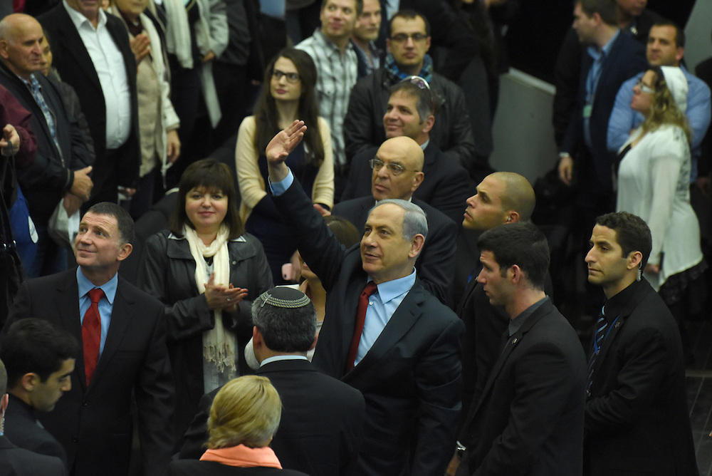 Israeli Prime Minister and leader of the Likud Party Benjamin Netanyahu waves to voters from the Russian speaking community, at the Party conference in Tel Aviv, February 09 2015. Photo by Gili Yaari