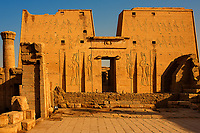 view of Horus temple in Edfou in upper egypt