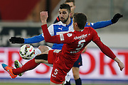 14.03.2015; Thun; Fussball Super League - FC Thun - Grasshopper Club Zuerich: Munas Dabbur (GC) links gegen Fulvio Sulmoni (Thun)(Christian Pfander/freshfocus)