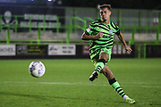 Forest Green Rovers Taylor Allen(12) takes a penalty and scores during the Leasing.com EFL Trophy match between Forest Green Rovers and Coventry City at the New Lawn, Forest Green, United Kingdom on 8 October 2019.