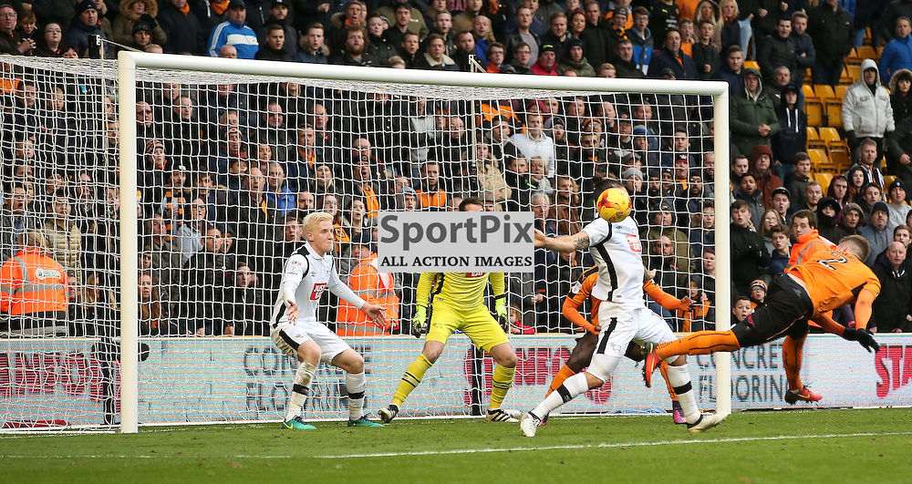 WOLVERHMPTON, UNITED KINGDOM 05 NOVEMBER 2016: A possible hand ball by Bradley Johnson, Derby County No. 15 during the league game between Wolverhampton Wanderers and Derby County in the Football League Championship at Molineux Stadium, on November 05, 2016 in Wolverhampton, England. (Photo by Michael Poole)