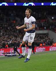 Tottenham Hotspur's Harry Kane celebrates scoring his side's second goal of the game during the UEFA Champions League match at Wembley Stadium, London.