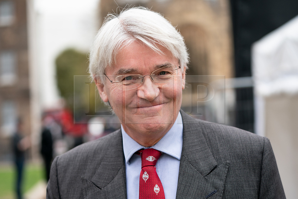 © Licensed to London News Pictures. 27/03/2019. London, UK. Andrew Mitchell MP poses for a photo in College Green, Westminster after appearing on a television interview this morning. Later today MPs are expected to vote on a series of indicative votes on alternative proposals to British Prime Minister Theresa May's withdrawal agreement. Photo credit : Tom Nicholson/LNP