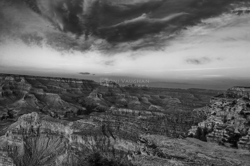Black and White shot of the Grand Canyon at the South Rim