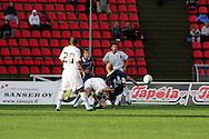 23.07.2005, Ratina, Tampere, Finland..UEFA Intertoto Cup, 3rd round, 2nd leg match.Tampere United v S.S. Lazio.Ville Lehtinen (TamU) v Roberto Muzzi (Lazio).©Juha Tamminen.....ARK:k