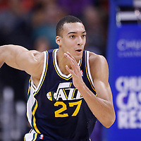 23 October 2013: Utah Jazz center Rudy Gobert (27) runs the court during the Los Angeles Clippers 103-99 victory over the Utah Jazz at the Staples Center, Los Angeles, California, USA.