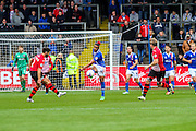 Carlisle United Midfielder Bastien Hery plays the ball forward during the Sky Bet League 2 match between Carlisle United and Exeter City at Brunton Park, Carlisle, England on 17 October 2015. Photo by Craig McAllister.