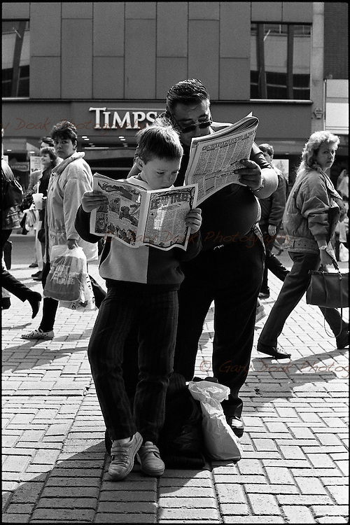 Father and son, Argyle St. Glasgow, 1989