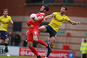 Ollie Palmer & Jake Wright compete for possession during the Sky Bet League 2 match between Leyton Orient and Oxford United at the Matchroom Stadium, London, England on 17 October 2015. Photo by Bennett Dean.