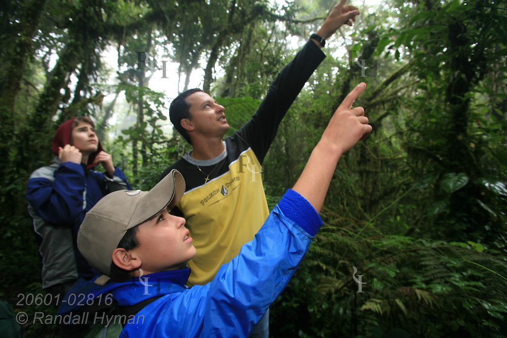 Ecoteach guide Alex Alvarez Rojas points out birds in rainforest as Luke Young (16, back) and Cloud Forest School student Douglas Rodriguez Cruz (12, front) join in at Santa Elena National Park, Costa Rica.