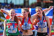 Bronze medalist, Aimee Pratt, gold medalist, Rosie Clarke and silver medalist Elizabeth Bird pose after the Women's 3000m Steeplechase Final during the Muller British Athletics Championships at Alexander Stadium, Birmingham, United Kingdom on 24 August 2019.