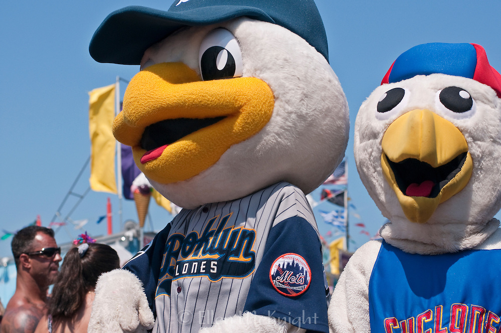 "Brooklyn Cyclones Mascots ""Sandy the Seagull"" and Pee Wee at the Coney Island Mermaid Parade in Brooklyn - June 19, 2010"