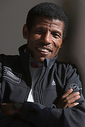 © Licensed to London News Pictures. 09/04/2014. London, England. Long-distance running legend Haile Gebrselassie hopes to help Mo Farah and his rivals to a world record when he sets the pace at the London Marathon. Haile Gebrselassie who set 27 world records in his career, will be running as a pacemaker for the elite men's race at the Virgin Money London Marathon on Sunday. Photo credit: Bettina Strenske/LNP