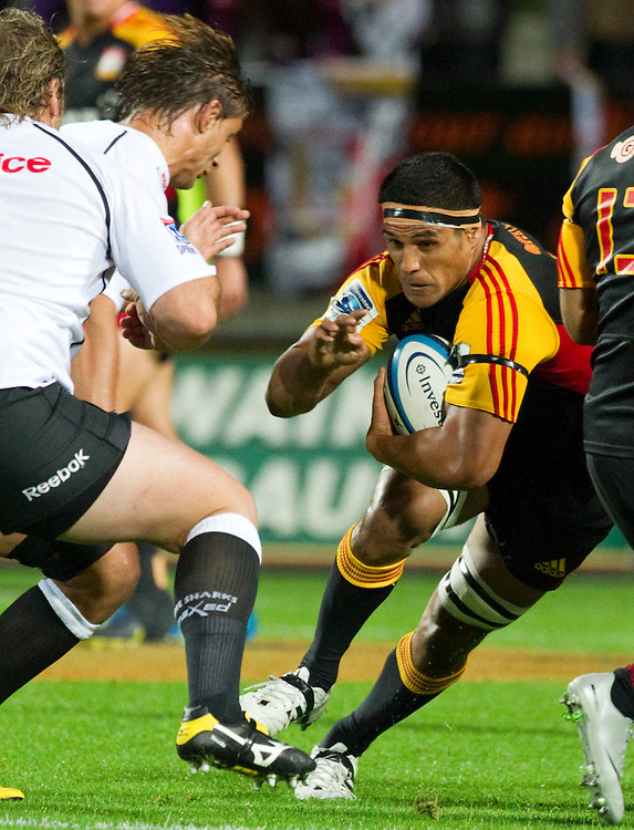 Chiefs' Tanerau Latimer in action against the Sharks in a Super Rugby match, Waikato Stadium, Hamilton, New Zealand, Saturday, April 27, 2013.  Credit:SNPA / David Rowland