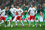 Wroclaw, Poland - 2016 November 14: Nik Omladic of Slovenia and Artur Jedrzejczyk of Poland and Pawel Wszolek of Poland and Miha Mevlja of Slovenia and Grzegorz Krychowiak of Poland and Jasmin Kurtic of Slovenia and Miral Samardzic of Slovenia during Poland v Slovenia - International Friendly Soccer Match at Municipal Stadium on November 14, 2016 in Wroclaw, Poland.<br /> <br /> Adam Nurkiewicz declares that he has no rights to the image of people at the photographs of his authorship.<br /> <br /> Picture also available in RAW (NEF) or TIFF format on special request.<br /> <br /> Any editorial, commercial or promotional use requires written permission from the author of image.<br /> <br /> Mandatory credit:<br /> Photo by © Adam Nurkiewicz / Mediasport