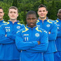 St Johnstone Signings....26.06.12<br /> New St Johnstone signings from left, Johnny Tuffey, Thomas Scobbie, Nigel Hasselbaink, Gary Miller and Gregory Tade<br /> Picture by Graeme Hart.<br /> Copyright Perthshire Picture Agency<br /> Tel: 01738 623350  Mobile: 07990 594431