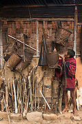 Chang Naga baskets<br /> Chang Naga headhunting Tribe<br /> Tuensang district<br /> Nagaland,  ne India