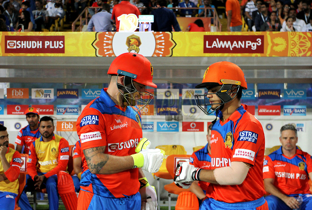 Brendon McCullum of the Gujarat Lions and Ishan Kishan of the Gujarat Lions arrive for the start of the match 35 of the Vivo 2017 Indian Premier League between the Gujarat Lions and the Mumbai Indians  held at the Saurashtra Cricket Association Stadium in Rajkot, India on the 29th April 2017<br /> <br /> Photo by Vipin Pawar - Sportzpics - IPL