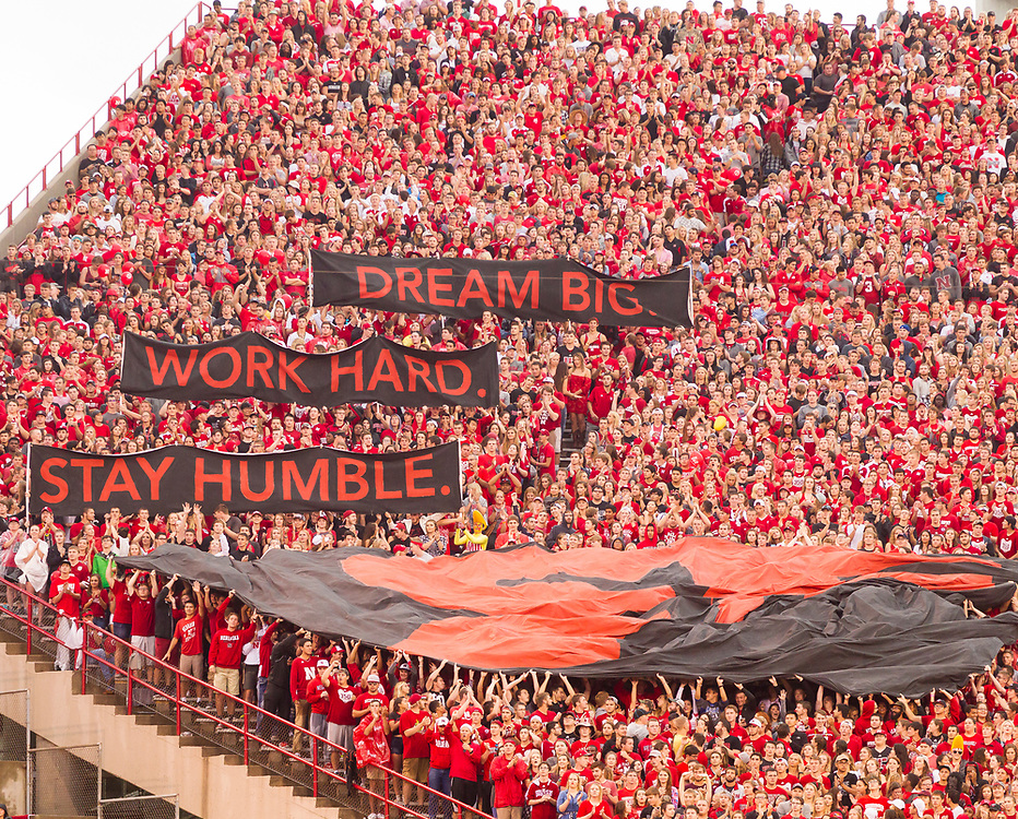 Nebraska students unveil banners in honor of Sam Foltz  during Nebraska's 43-10 win over Fresno State at Memorial Stadium in Lincoln, Neb. on Sept. 3, 2016. Photo by Aaron Babcock, Hail Varsity