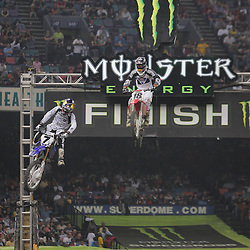 14 March 2009: James Stewart (7) jumps ahead of David Millsaps (18) during the Monster Energy AMA Supercross race at the Louisiana Superdome in New Orleans, Louisiana