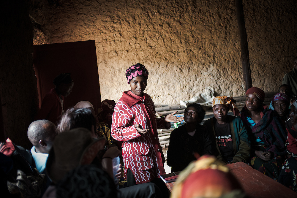 Beatrice speaks at a meeting of the farming co-operative. Shingiro District, Rwanda
