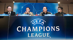 MADRID, SPAIN - Tuesday, February 24, 2009: Liverpool's press officer Ian Cotton, Jamie Carragher and manager Rafael Benitez during a press conference at the Santiago Bernabeu ahead of the UEFA Champions League First Knock-Out Round against Real Madrid. (Photo by David Rawcliffe/Propaganda)