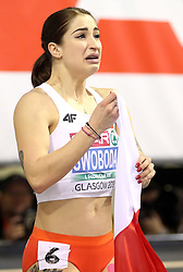 Poland's Ewa Swoboda celebrates after winning gold after the Women's 60m final during day two of the European Indoor Athletics Championships at the Emirates Arena, Glasgow.