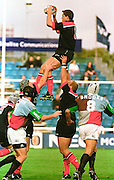 Twickenham, GREAT BRITAIN. Saracens' Tony Diprose, collects the line out ball in the Harlequins v Saracens on9/10/1999 at the Stoop. England.  [Mandatory Credit; peter Spurrier; Intersport Images]
