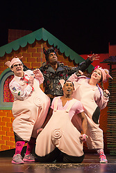 "© Licensed to London News Pictures. 05/08/2015. London, UK. L-R: Daniel Buckley, Simon Webbe, Taofique Folarin and Leanne Jones. West End premiere of the children's story ""The 3 Little Pigs"" at the Palace Theatre starring Simon Webbe as Wolf, Alison Jiear as Mother, Leanne Jones as Bee, Taofique Folarin as Bar and Daniel Buckley as Q. The show runs from 5 August to 6 September 2015. Photo credit: Bettina Strenske/LNP"