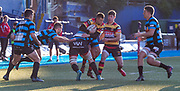 Carmarthen Quins' winger Dale Ford tries to break through the Cardiff defence.<br /> <br /> Cardiff Arms Park, Cardiff, Wales, UK - Saturday 19th October, 2019.<br /> <br /> Images from the Indigo Welsh Premiership rugby match between Cardiff RFC and Carmarthen Quins RFC. <br /> <br /> Photographer Dan Minto<br /> <br /> mail@danmintophotography.com <br /> www.danmintophotography.com