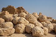 Pile of Roman ballista balls Masada national park, Israel