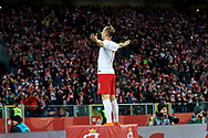 Chorzow, Poland - 2018 March 27: Kamil Grosicki from Poland celebrates with team mates after scoring while Poland v South Korea International Friendly Soccer match at Stadion Slaski on March 27, 2018 in Chorzow, Poland.<br /> <br /> Mandatory credit:<br /> Photo by © Adam Nurkiewicz / Mediasport<br /> <br /> Adam Nurkiewicz declares that he has no rights to the image of people at the photographs of his authorship.<br /> <br /> Picture also available in RAW (NEF) or TIFF format on special request.<br /> <br /> Any editorial, commercial or promotional use requires written permission from the author of image.