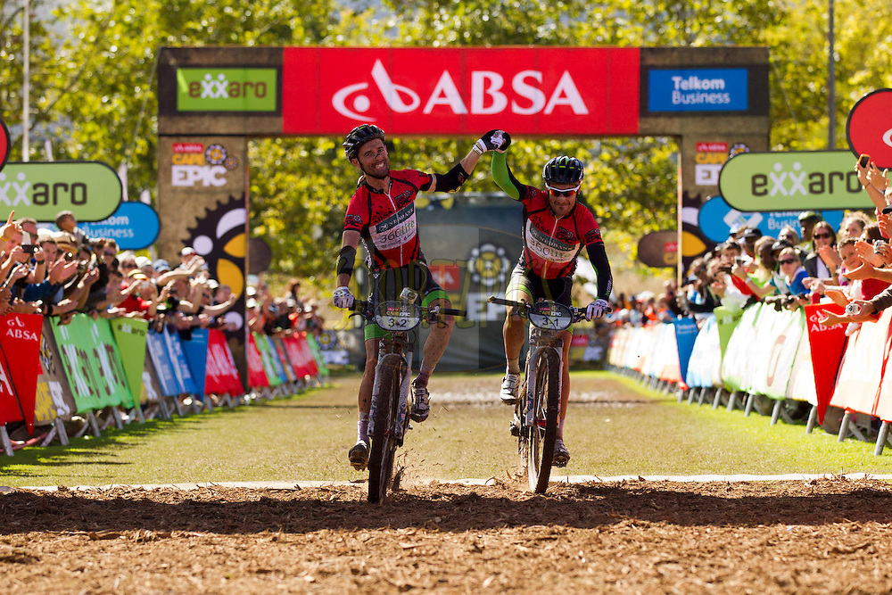 GRABOUW 31 March 2012 - David George and Kevin Evans of Team 360Life win stage 6 of the 2012 Absa Cape Epic Mountain Bike stage race held in and around Oak Valley Wine Estate in the Elgin Valley, South Africa on the 31 March 2012..Photo by Gary Perkin/Cape Epic/SPORTZPICS