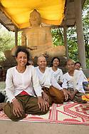 Elderly Buddhist group at Angkor Wat, Cambodia