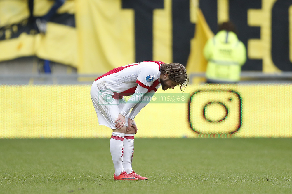 Lasse Schone of Ajax during the Dutch Eredivisie match between Vitesse Arnhem and Ajax Amsterdam at Gelredome on March 04, 2018 in Arnhem, The Netherlands