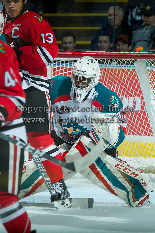 KELOWNA, CANADA - APRIL 7: Michael Herringer #30 of the Kelowna Rockets defends the net against the Portland Winterhawks on April 7, 2017 at Prospera Place in Kelowna, British Columbia, Canada.  (Photo by Marissa Baecker/Shoot the Breeze)  *** Local Caption ***